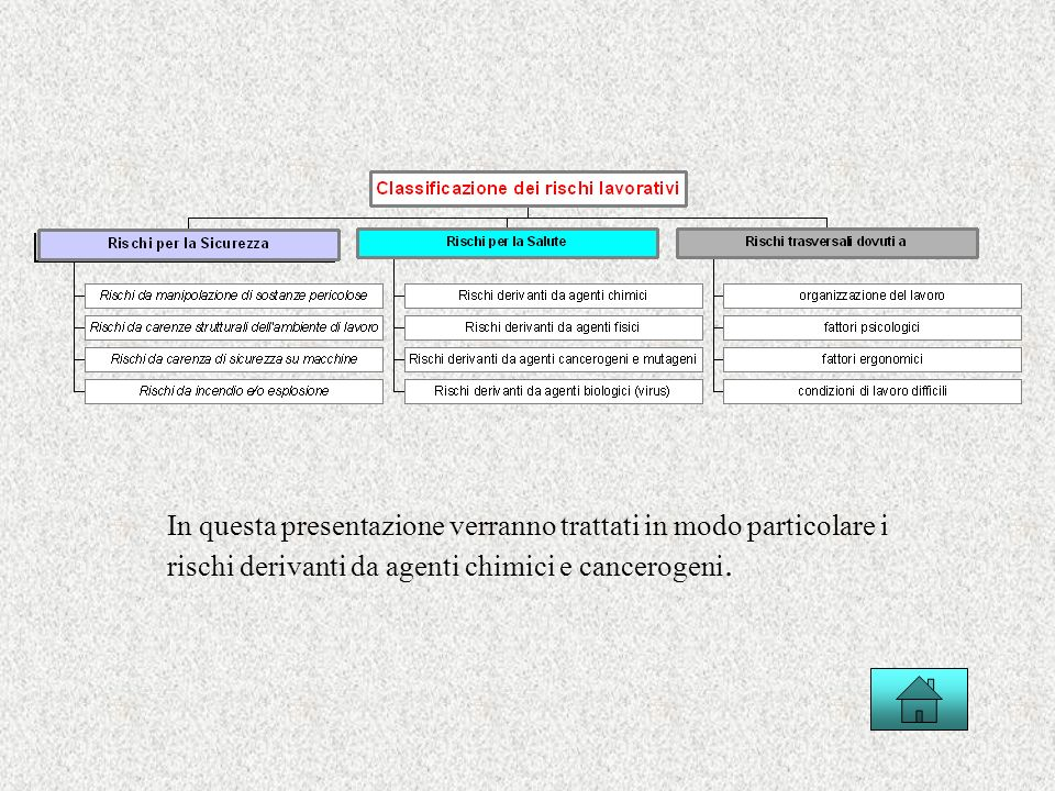 In questa presentazione verranno trattati in modo particolare i rischi derivanti da agenti chimici e cancerogeni.
