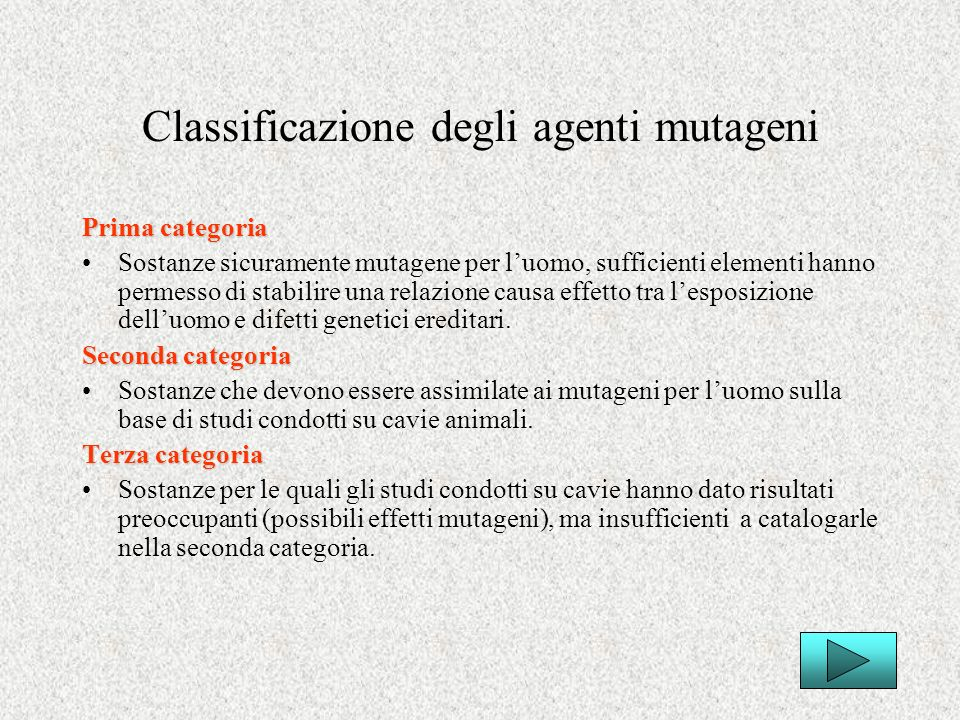 Classificazione degli agenti mutageni
