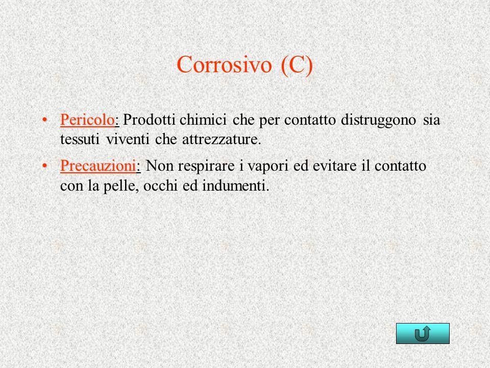 Corrosivo (C) Pericolo: Prodotti chimici che per contatto distruggono sia tessuti viventi che attrezzature.