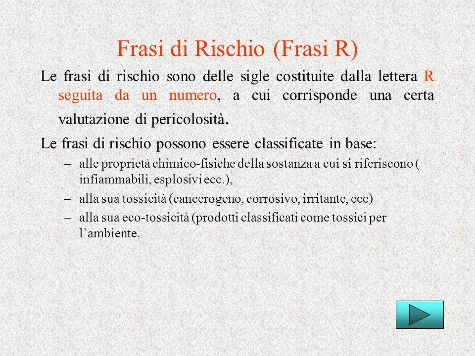 Frasi di Rischio (Frasi R)