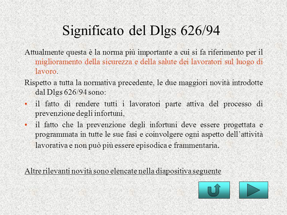 Significato del Dlgs 626/94