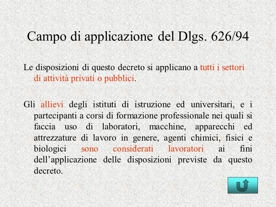 Campo di applicazione del Dlgs. 626/94