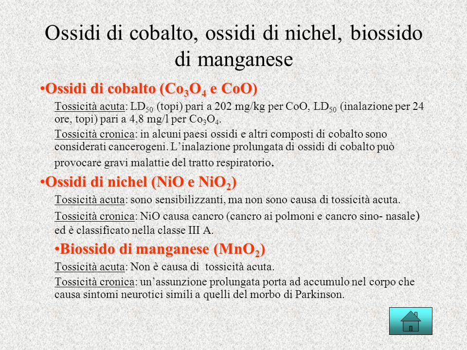 Ossidi di cobalto, ossidi di nichel, biossido di manganese