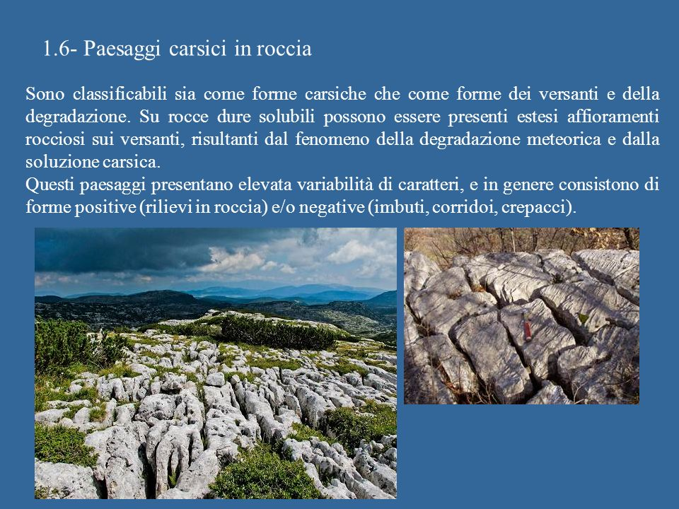 1.6- Paesaggi carsici in roccia
