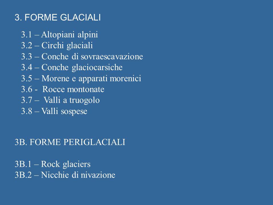 3. FORME GLACIALI 3.1 – Altopiani alpini. 3.2 – Circhi glaciali. 3.3 – Conche di sovraescavazione.
