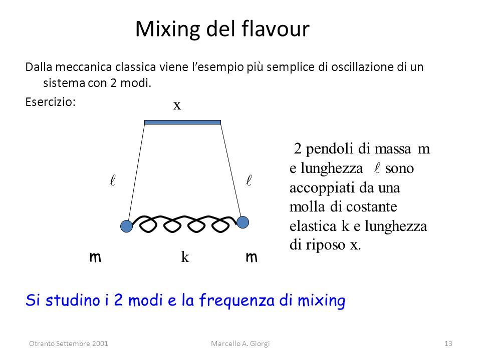 Mixing del flavour Dalla meccanica classica viene l'esempio più semplice di oscillazione di un sistema con 2 modi.