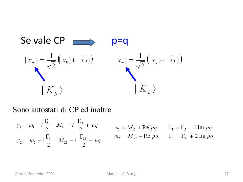Se vale CP p=q Sono autostati di CP ed inoltre Otranto Settembre 2001