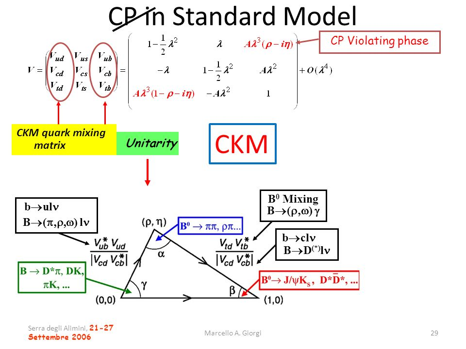 CP in Standard Model CKM CP Violating phase CKM quark mixing matrix
