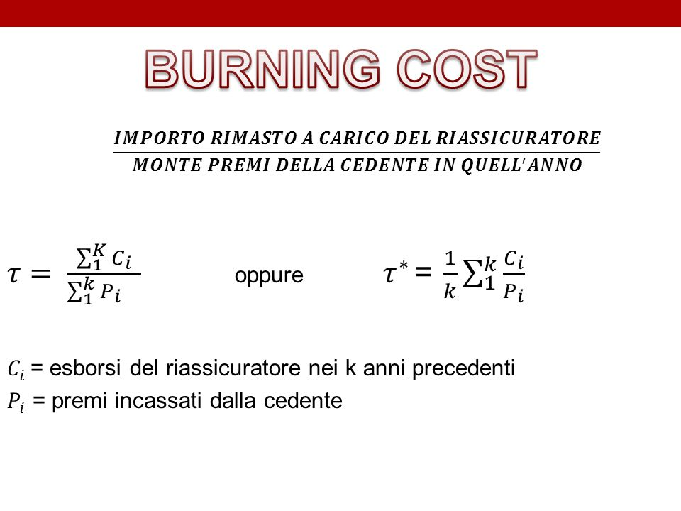 BURNING COST 𝜏= 1 𝐾 𝐶 𝑖 1 𝑘 𝑃 𝑖 oppure 𝜏 ∗ = 1 𝑘 1 𝑘 𝐶 𝑖 𝑃 𝑖