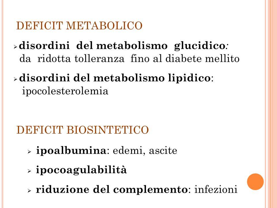 DEFICIT METABOLICO DEFICIT BIOSINTETICO ipoalbumina: edemi, ascite