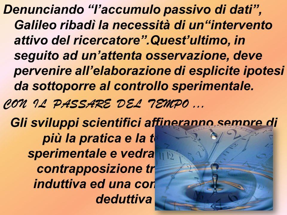 Denunciando l'accumulo passivo di dati , Galileo ribadì la necessità di un intervento attivo del ricercatore .Quest'ultimo, in seguito ad un'attenta osservazione, deve pervenire all'elaborazione di esplicite ipotesi da sottoporre al controllo sperimentale.