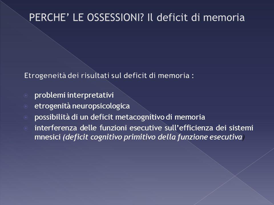 Etrogeneità dei risultati sul deficit di memoria :
