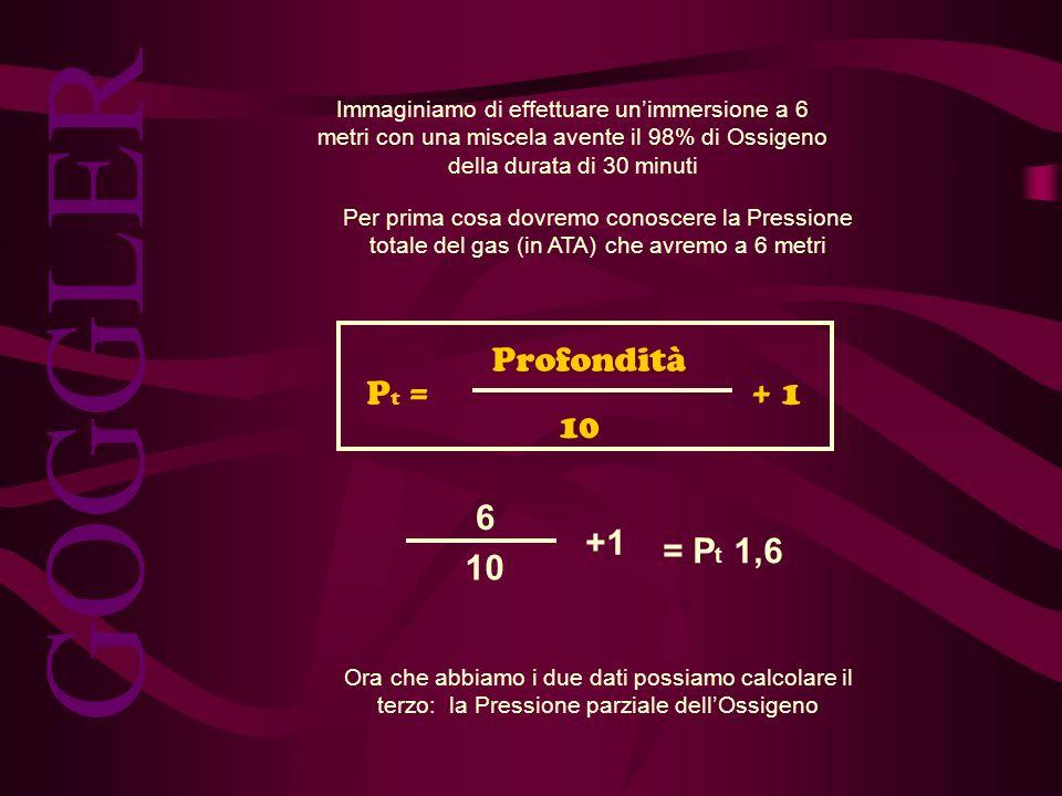 GOGGLER Pt = Profondità 10 + 1 6 10 +1 = Pt 1,6