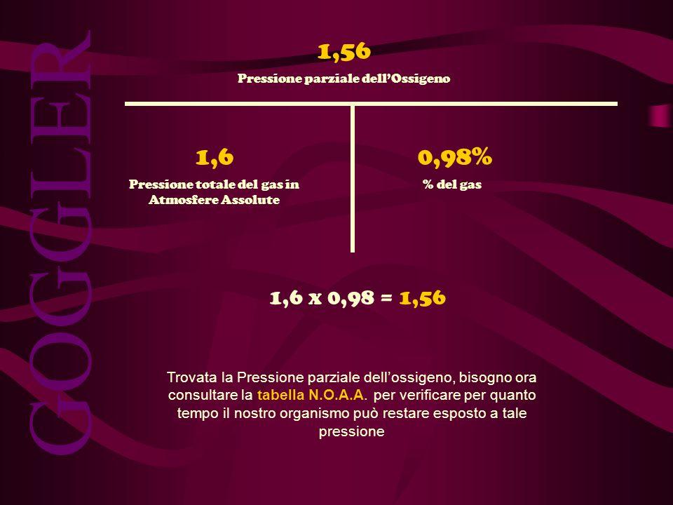 1,56 % del gas. Pressione totale del gas in Atmosfere Assolute. Pressione parziale dell'Ossigeno.