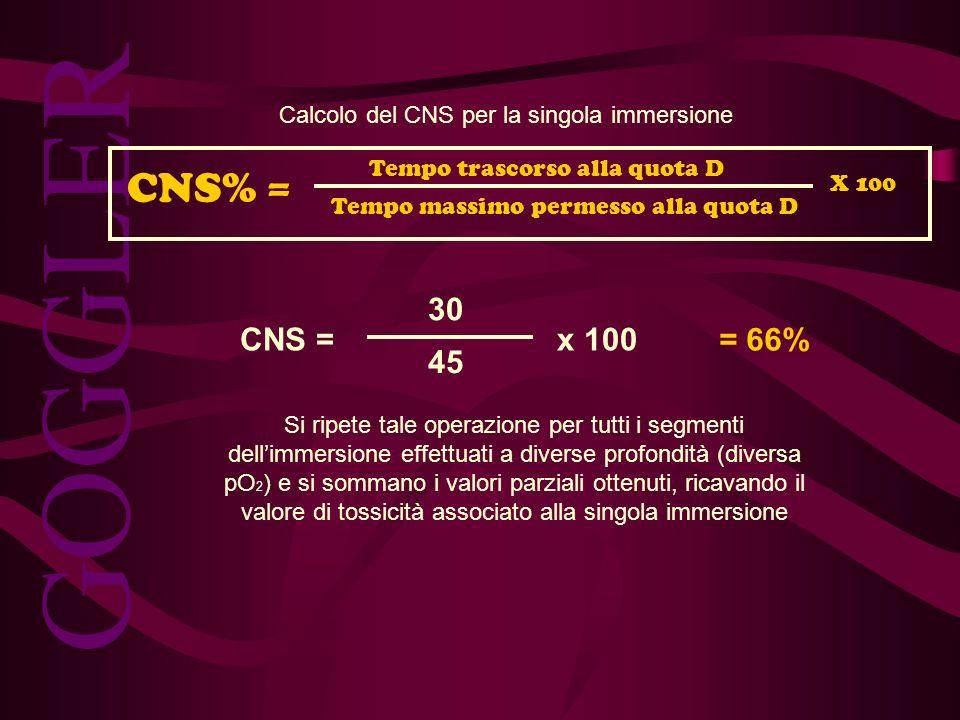 Calcolo del CNS per la singola immersione
