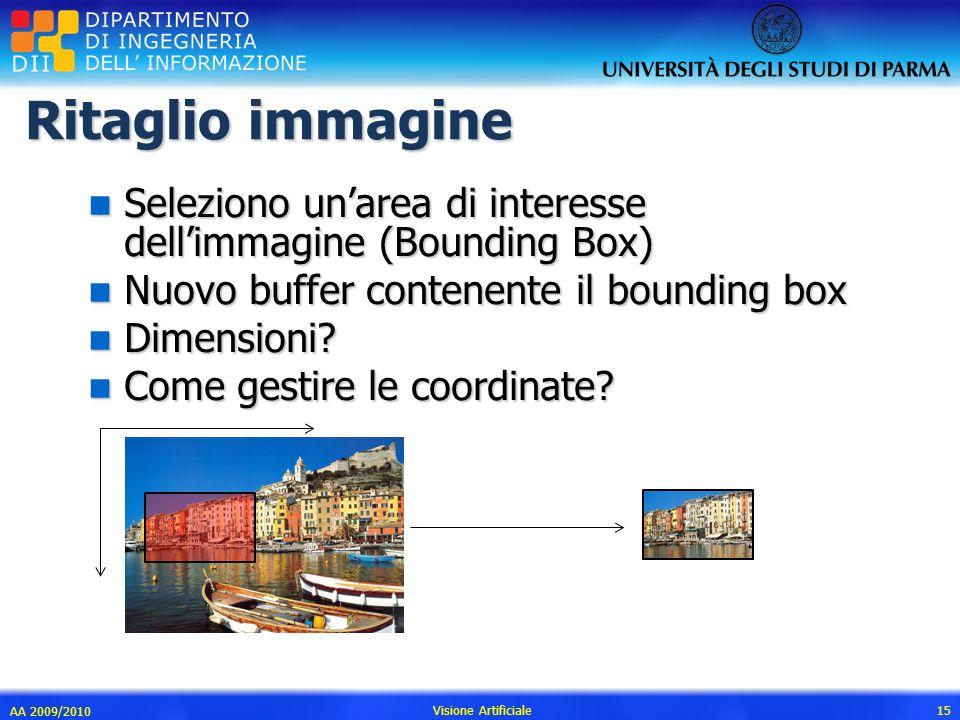 Ritaglio immagine Seleziono un'area di interesse dell'immagine (Bounding Box) Nuovo buffer contenente il bounding box.