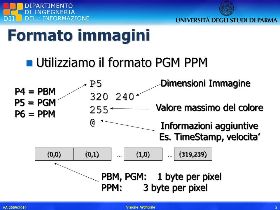 Formato immagini Utilizziamo il formato PGM PPM P5 320 240 255 @