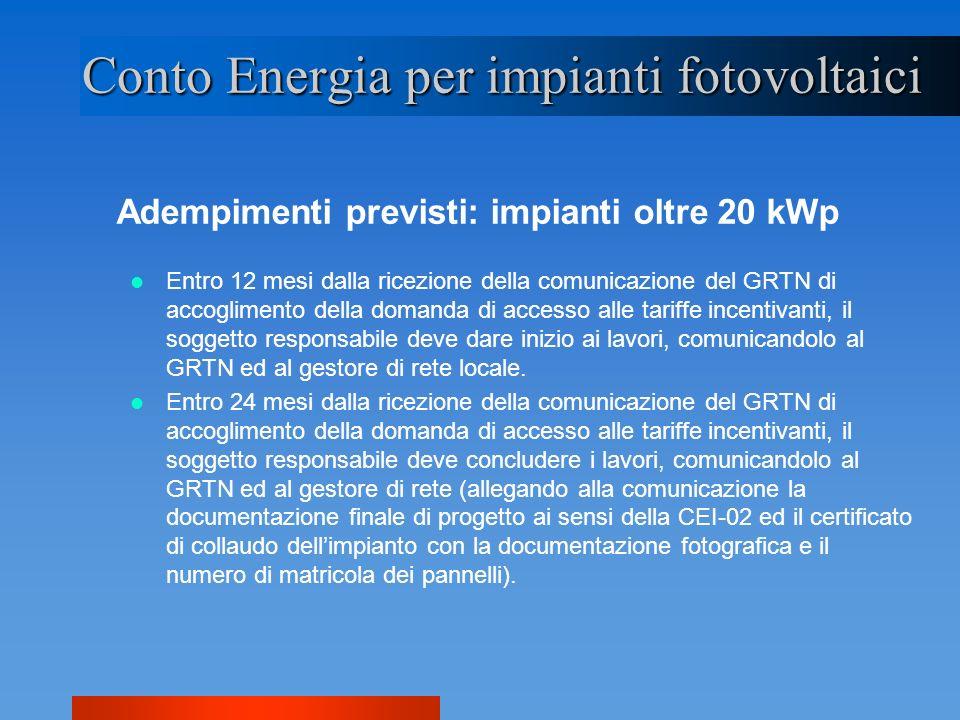 Conto Energia per impianti fotovoltaici