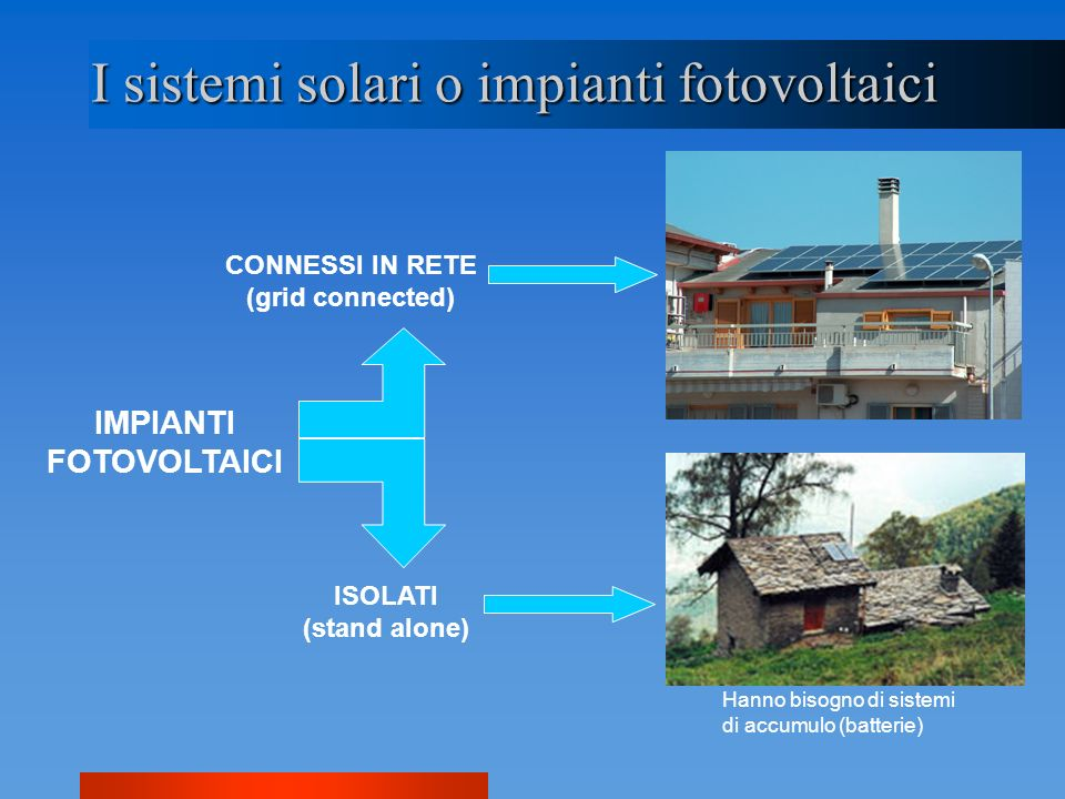 I sistemi solari o impianti fotovoltaici