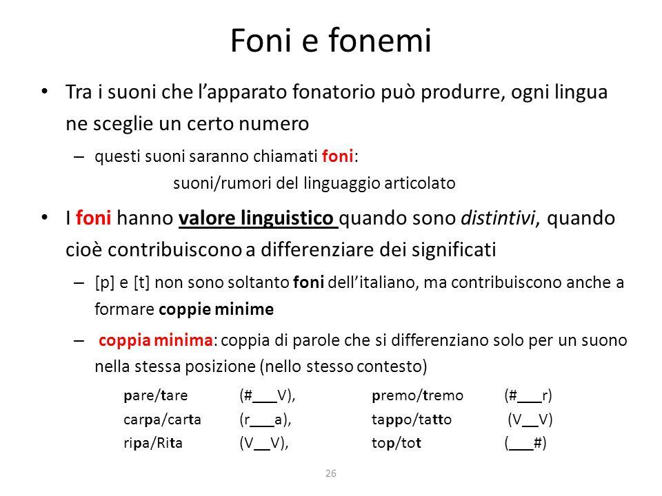Foni e fonemi Tra i suoni che l'apparato fonatorio può produrre, ogni lingua ne sceglie un certo numero.