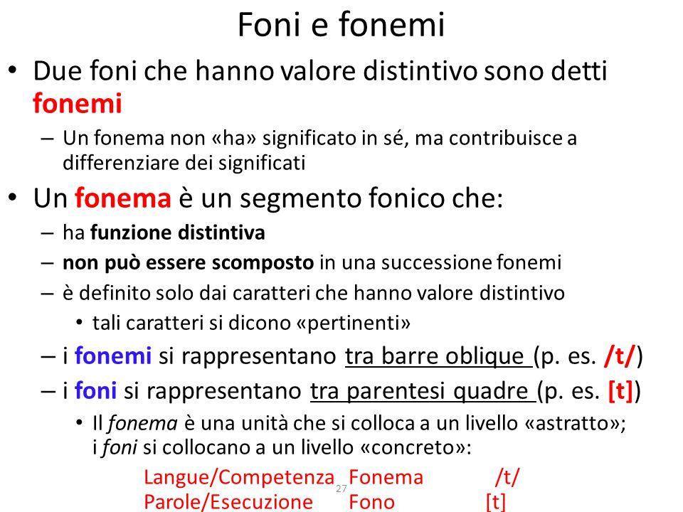 Foni e fonemi Due foni che hanno valore distintivo sono detti fonemi