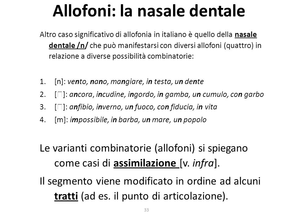 Allofoni: la nasale dentale