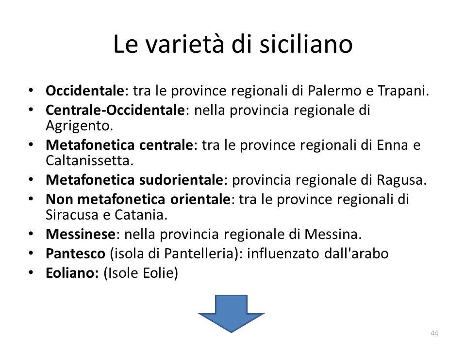 Le varietà di siciliano