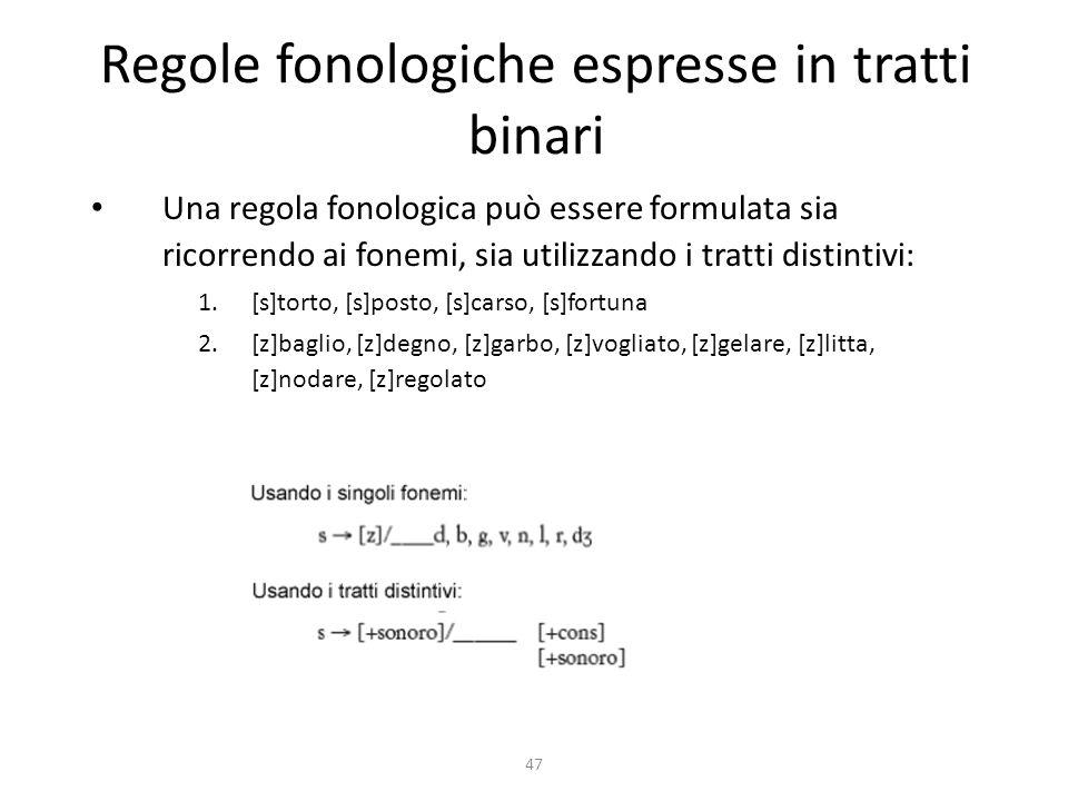 Regole fonologiche espresse in tratti binari