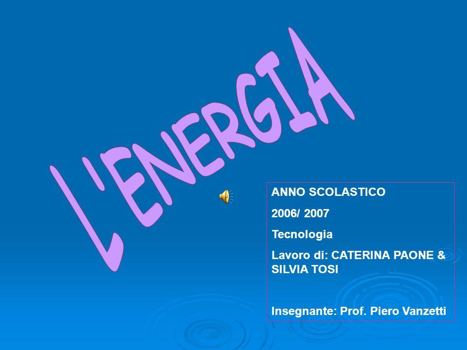 L ENERGIA ANNO SCOLASTICO 2006/ 2007 Tecnologia