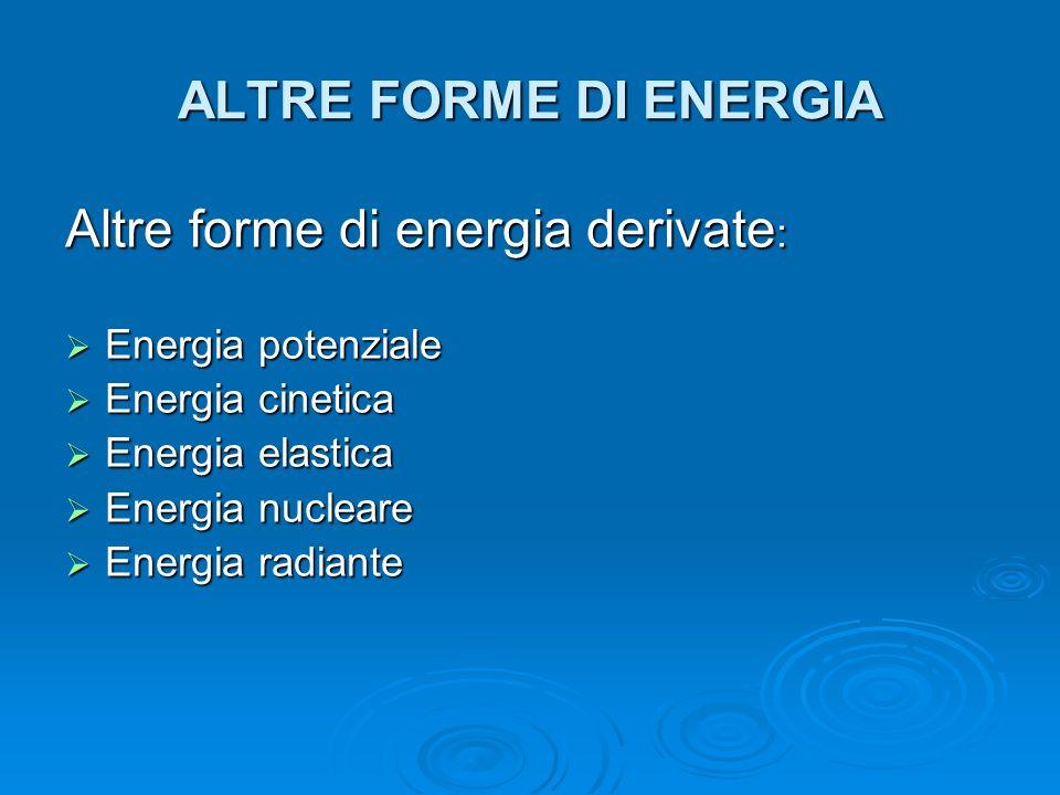 Altre forme di energia derivate: