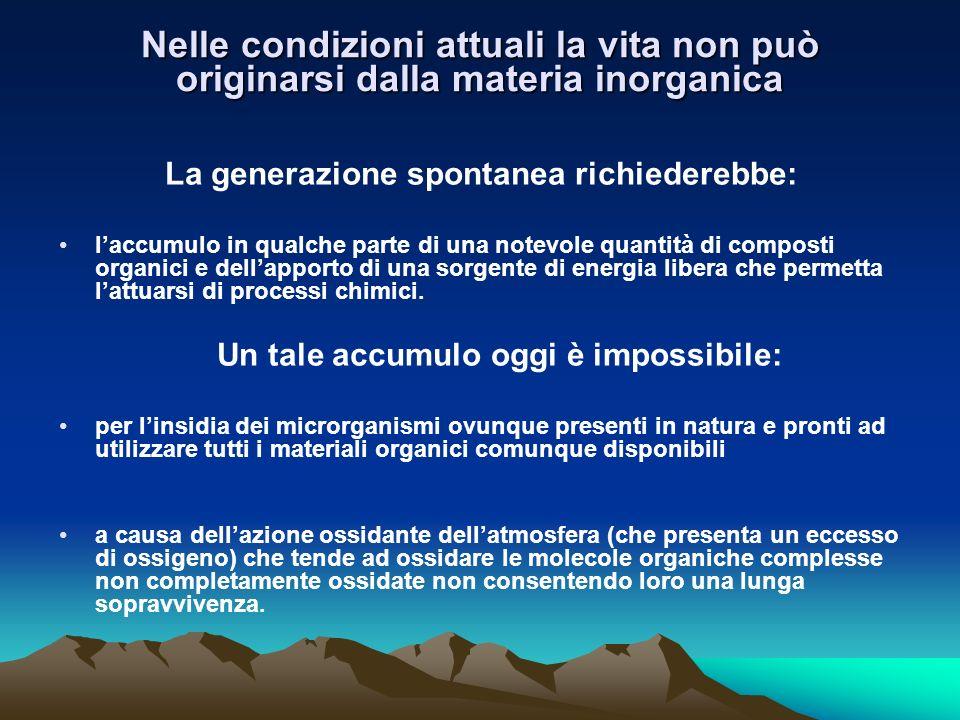 Nelle condizioni attuali la vita non può originarsi dalla materia inorganica
