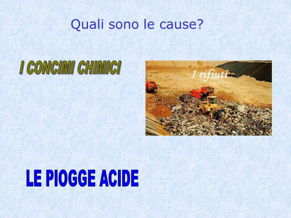Quali sono le cause I CONCIMI CHIMICI I rifiuti LE PIOGGE ACIDE