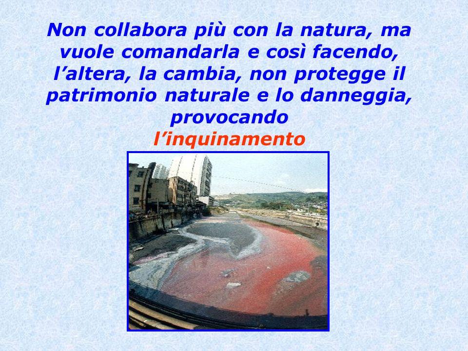 Non collabora più con la natura, ma vuole comandarla e così facendo, l'altera, la cambia, non protegge il patrimonio naturale e lo danneggia, provocando l'inquinamento