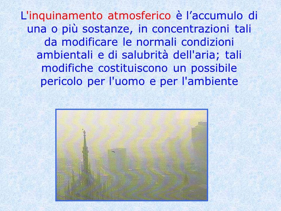 L inquinamento atmosferico è l'accumulo di una o più sostanze, in concentrazioni tali da modificare le normali condizioni ambientali e di salubrità dell aria; tali modifiche costituiscono un possibile pericolo per l uomo e per l ambiente