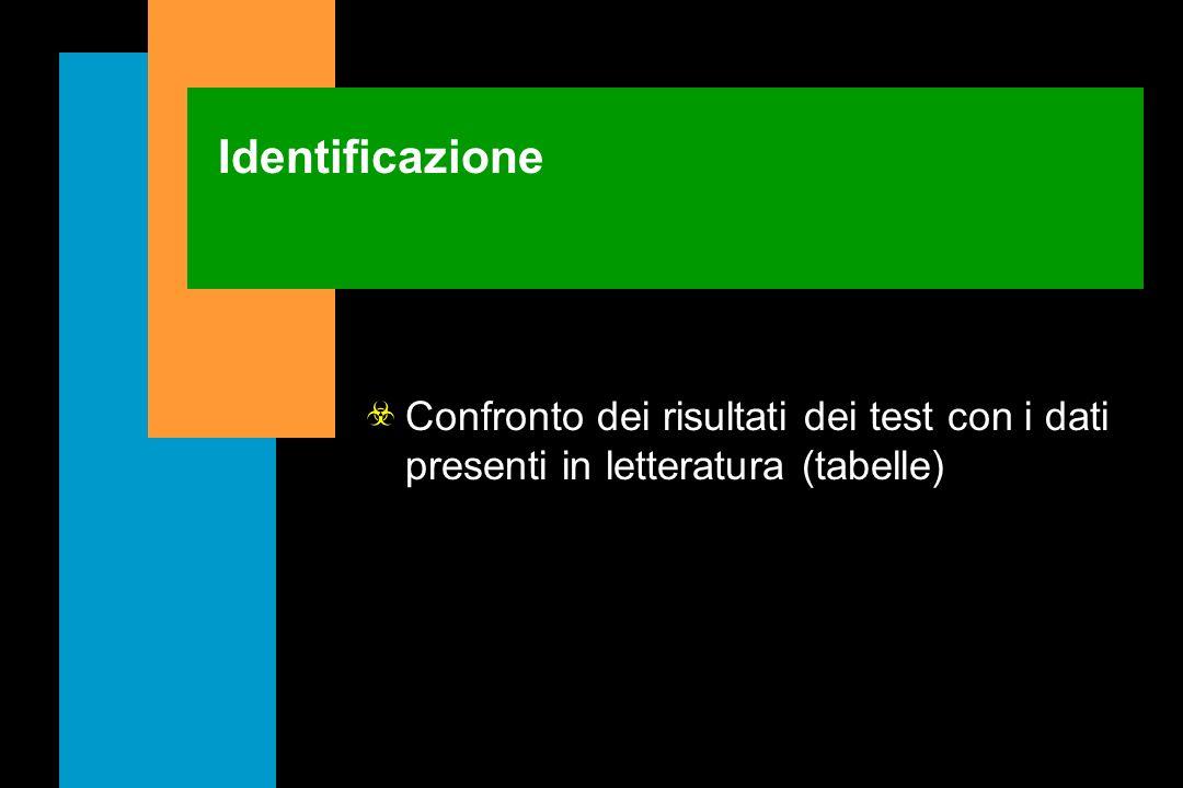 Identificazione Confronto dei risultati dei test con i dati presenti in letteratura (tabelle)