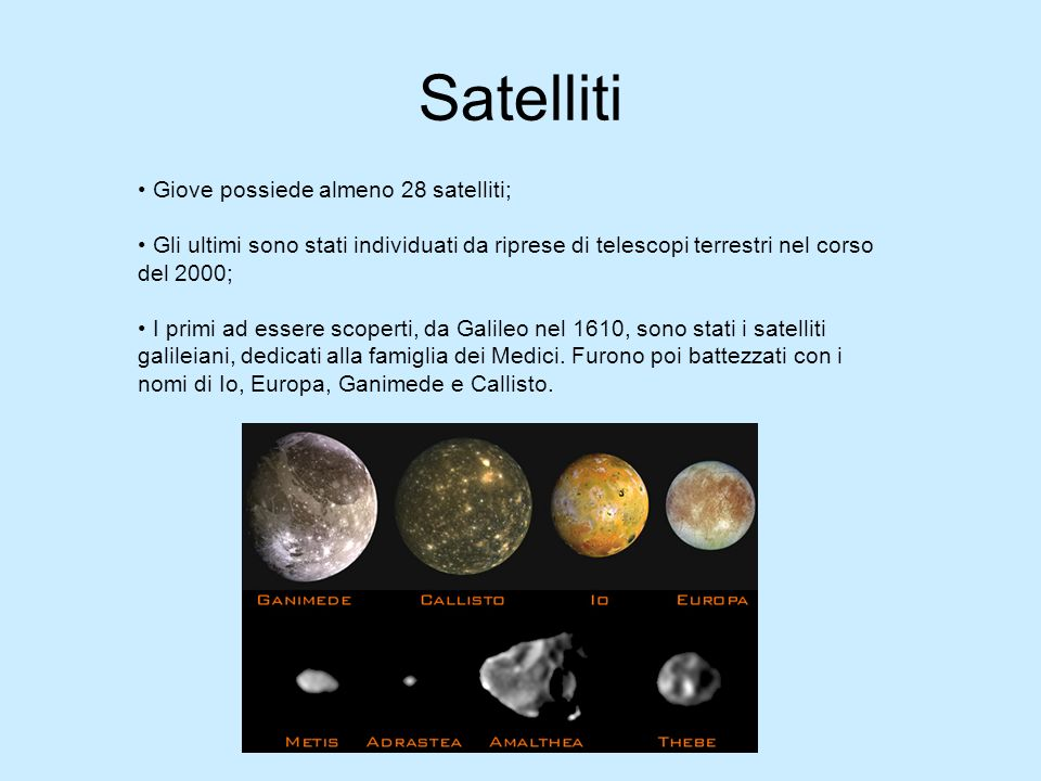 Satelliti Giove possiede almeno 28 satelliti;