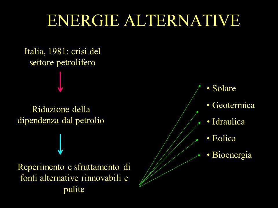 ENERGIE ALTERNATIVE Italia, 1981: crisi del settore petrolifero Solare