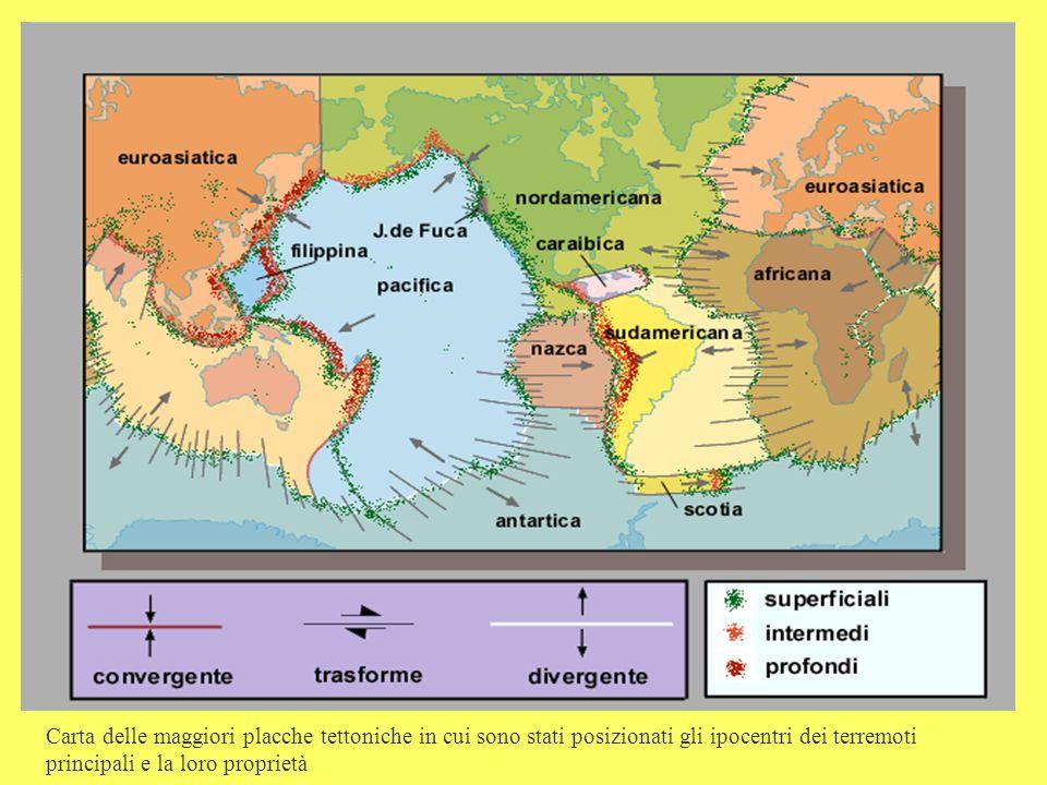 Carta delle maggiori placche tettoniche in cui sono stati posizionati gli ipocentri dei terremoti principali e la loro proprietà