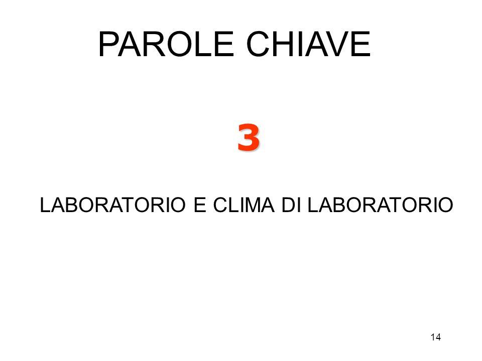 PAROLE CHIAVE 3 LABORATORIO E CLIMA DI LABORATORIO