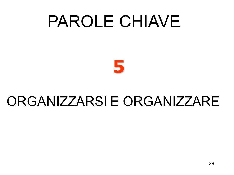 PAROLE CHIAVE 5 ORGANIZZARSI E ORGANIZZARE