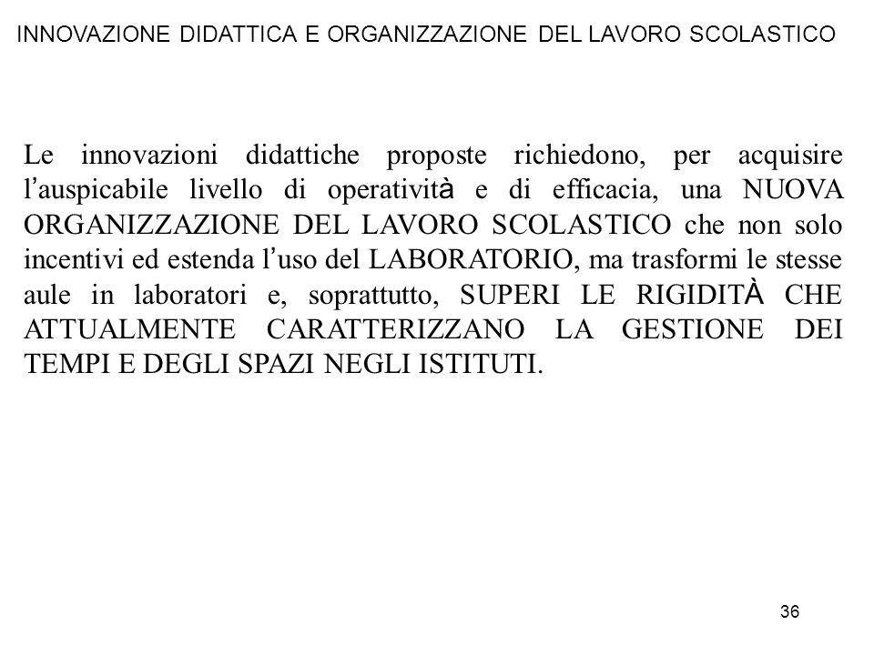 INNOVAZIONE DIDATTICA E ORGANIZZAZIONE DEL LAVORO SCOLASTICO