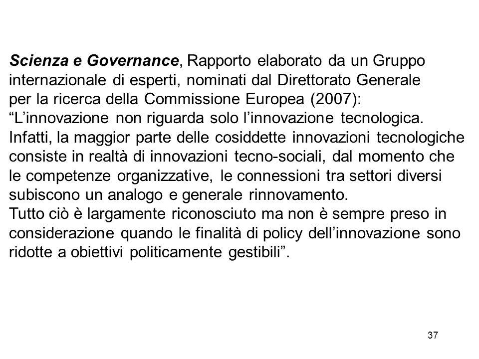 Scienza e Governance, Rapporto elaborato da un Gruppo