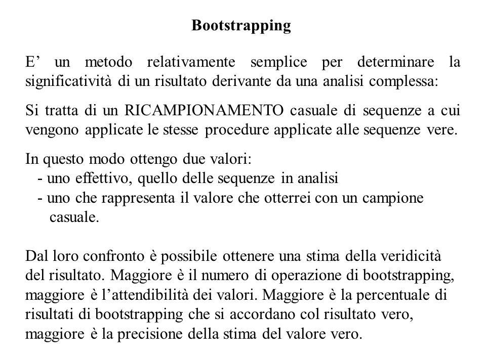 Bootstrapping E' un metodo relativamente semplice per determinare la significatività di un risultato derivante da una analisi complessa: