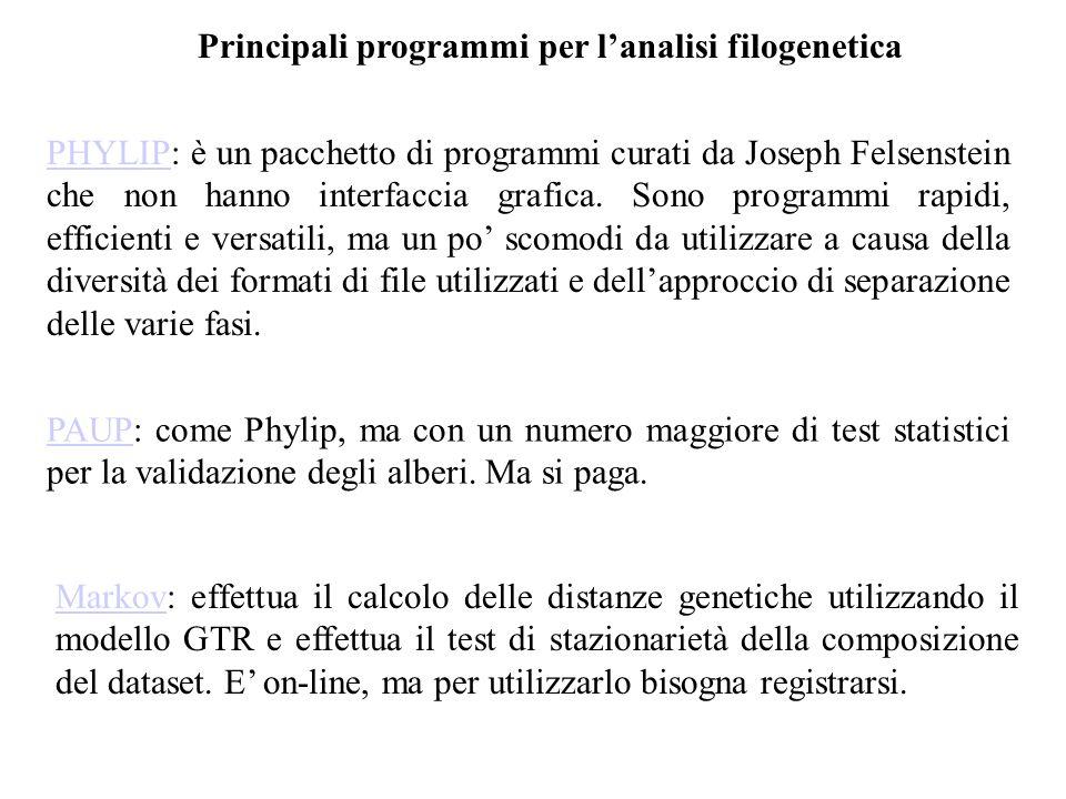 Principali programmi per l'analisi filogenetica