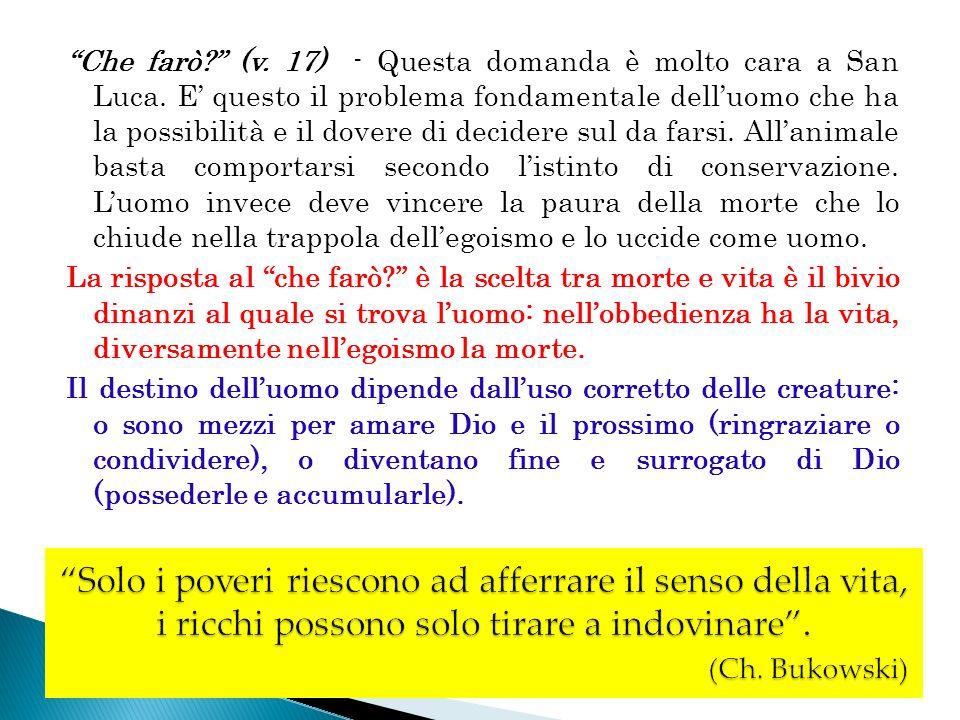 Che farò. (v. 17) - Questa domanda è molto cara a San Luca