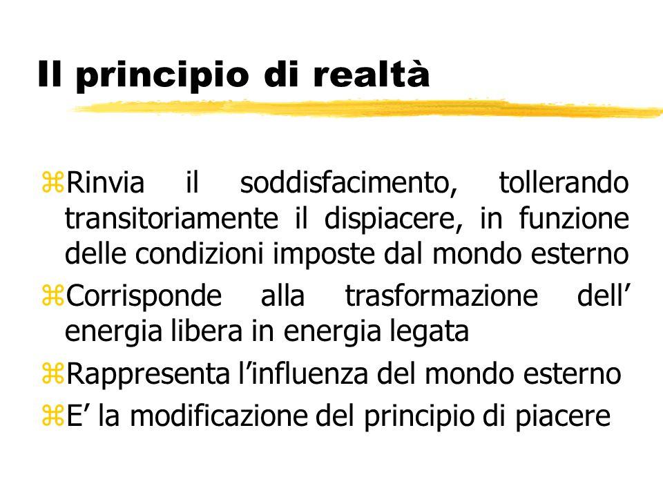 Il principio di realtà Rinvia il soddisfacimento, tollerando transitoriamente il dispiacere, in funzione delle condizioni imposte dal mondo esterno.