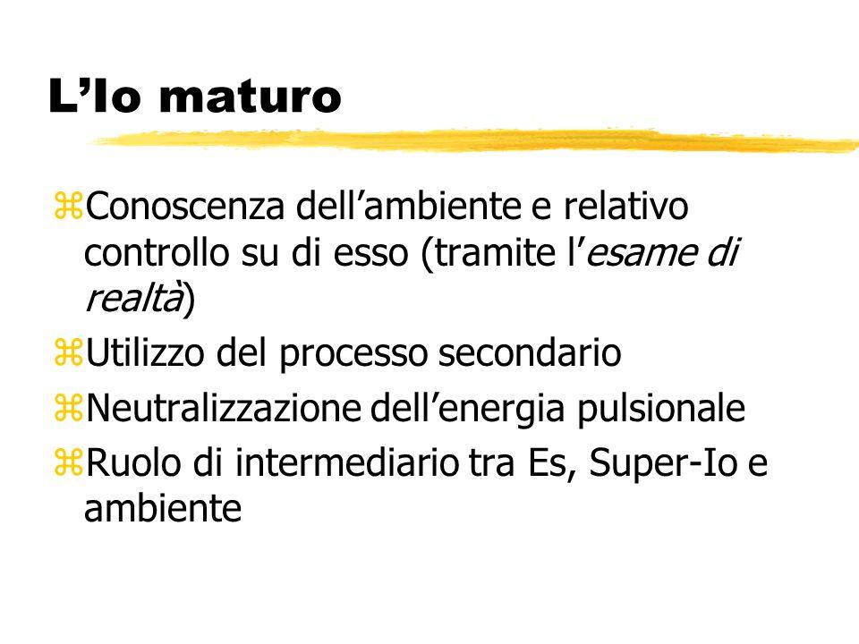 L'Io maturo Conoscenza dell'ambiente e relativo controllo su di esso (tramite l'esame di realtà) Utilizzo del processo secondario.