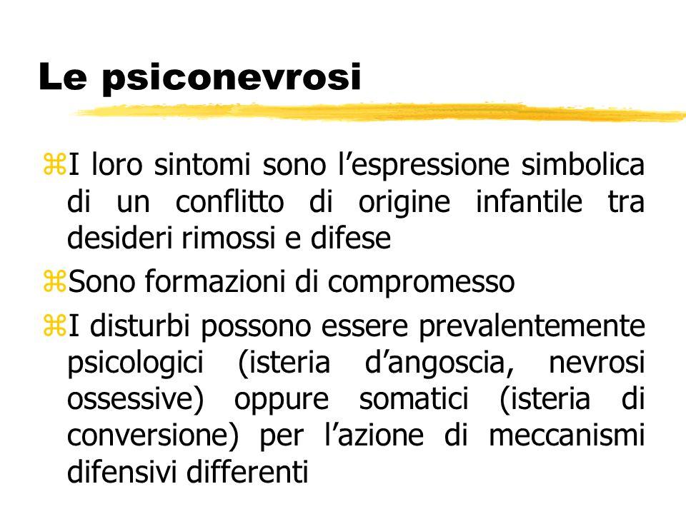 Le psiconevrosi I loro sintomi sono l'espressione simbolica di un conflitto di origine infantile tra desideri rimossi e difese.