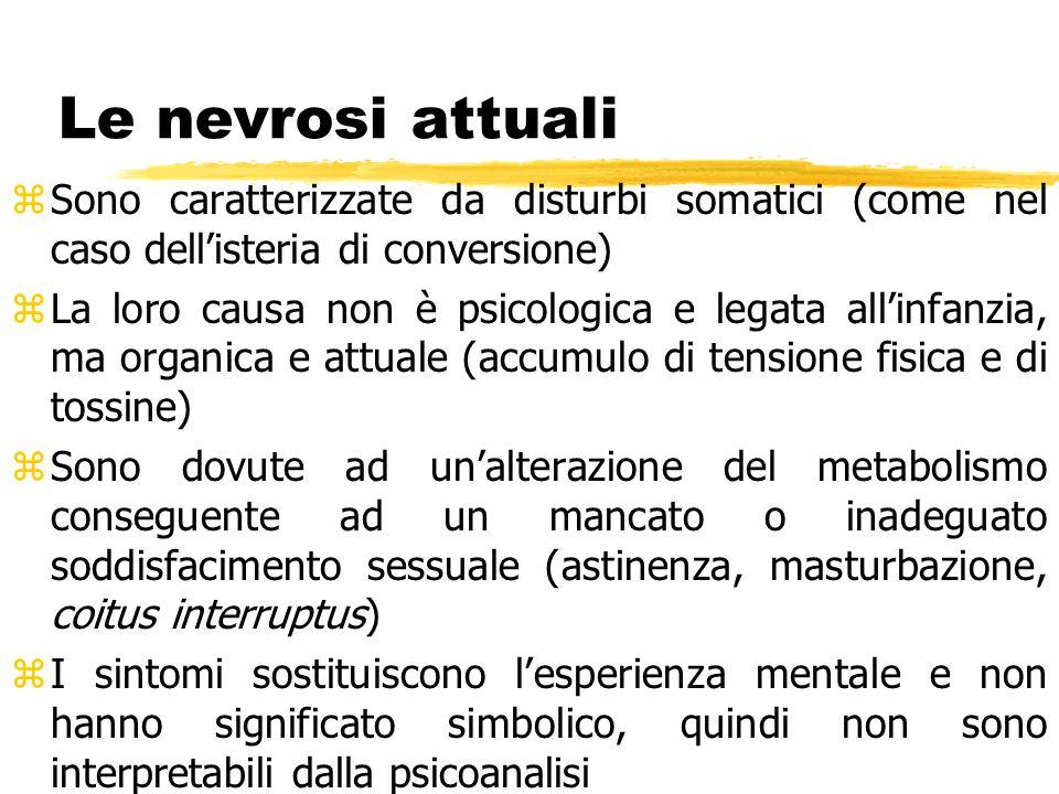 Le nevrosi attuali Sono caratterizzate da disturbi somatici (come nel caso dell'isteria di conversione)