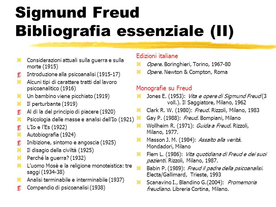 Sigmund Freud Bibliografia essenziale (II)
